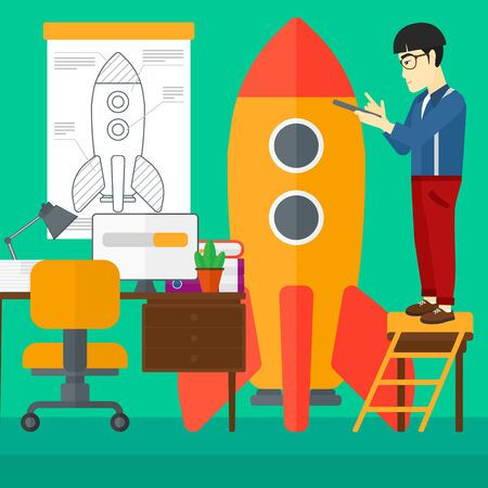 engeneering: An asian man standing on ladder and engeneering a rocket on the background of workspace vector flat design illustration. Square layout. Illustration