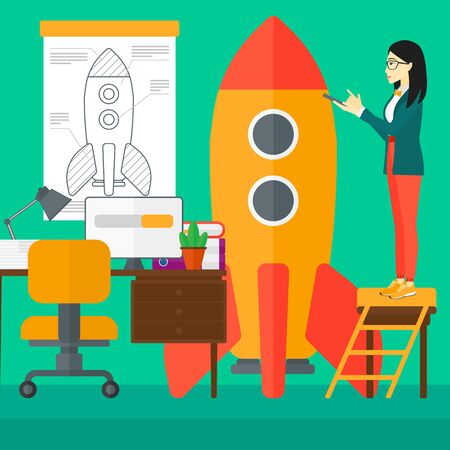 engeneering: An asian woman standing on ladder and engeneering a rocket on the background of workspace vector flat design illustration. Square layout.