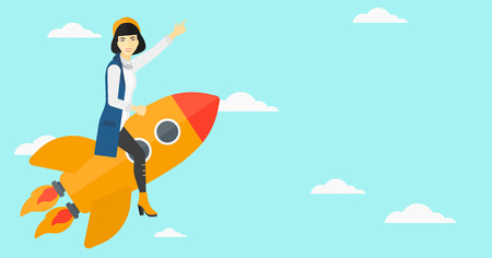 woman pointing up: An asian woman flying on the rocket with a forefinger pointing up on the background of blue sky vector flat design illustration. Horizontal layout.
