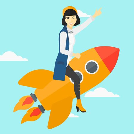 woman pointing up: An asian woman flying on the rocket with a forefinger pointing up on the background of blue sky vector flat design illustration. Square layout.