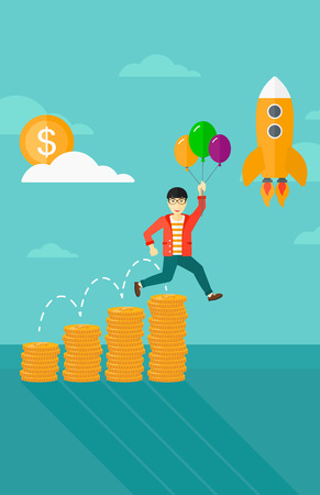 asian businessman: An asian businessman with balloons flying over golden coins graphs and a rocket flying nearby on the background of blue sky vector flat design illustration. Vertical layout. Illustration