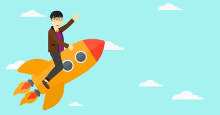man pointing up: An asian man flying on the rocket with a forefinger pointing up on the background of blue sky vector flat design illustration. Horizontal layout. Illustration