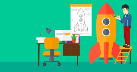 engeneering: An asian man standing on ladder and engeneering a rocket on the background of workspace vector flat design illustration. Horizontal layout. Illustration