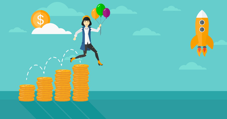 asian coins: An asian business woman with balloons flying over golden coins graphs and a rocket flying nearby on the background of blue sky vector flat design illustration. Horizontal layout.