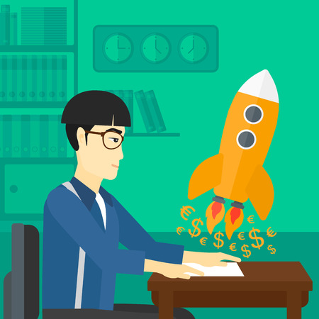 An asian man sitting at the table and looking at a rocket with money taking off the paper on the background of office vector flat design illustration. Square layout. 向量圖像
