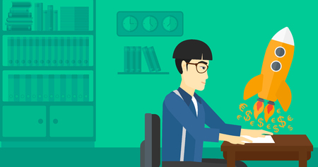 An asian man sitting at the table and looking at a rocket with money taking off the paper on the background of office vector flat design illustration. Horizontal layout.