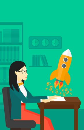 taking off: An asian woman sitting at the table and looking at a rocket with money taking off the paper on the background of office vector flat design illustration. Vertical layout. Illustration