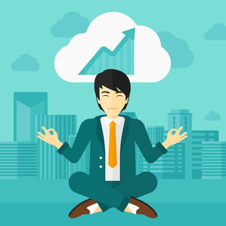 man meditating: An asian man meditating in lotus pose and thinking about the growth graph  on the background of modern city vector flat design illustration. Square layout.