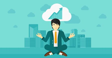 man meditating: An asian man meditating in lotus pose and thinking about the growth graph  on the background of modern city vector flat design illustration. Horizontal layout.