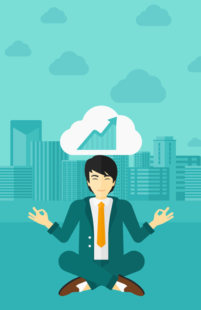 man meditating: An asian man meditating in lotus pose and thinking about the growth graph  on the background of modern city vector flat design illustration. Vertical layout.