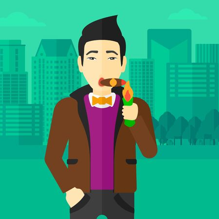 cigar smoking man: An asian man smoking a cigar on the background of modern city vector flat design illustration. Square layout. Illustration