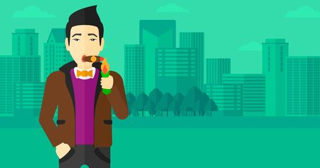 cigar smoking man: An asian  man smoking a cigar on the background of modern city vector flat design illustration. Horizontal layout.