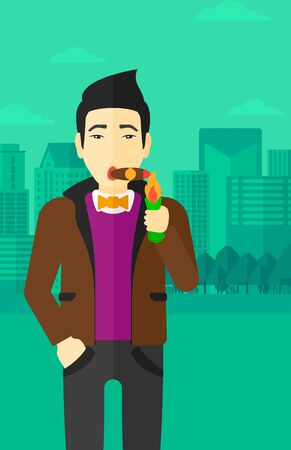 cigar smoking man: An asian man smoking a cigar on the background of modern city vector flat design illustration. Vertical layout.