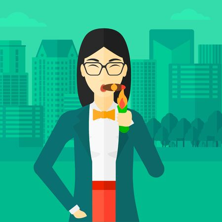 woman street: An asian woman smoking a cigar on the background of modern city vector flat design illustration. Square layout. Illustration