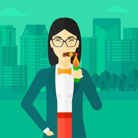 donna ricca: Una donna asiatica che fuma un sigaro sullo sfondo del design piatto illustrazione vettoriale città moderna. pianta quadrata. Vettoriali