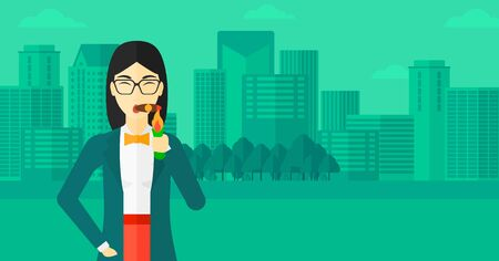 cigar smoking woman: An asian woman smoking a cigar on the background of modern city vector flat design illustration. Horizontal layout. Illustration