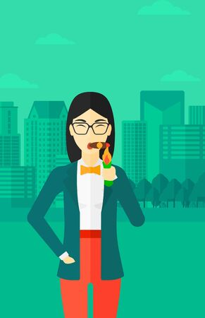 confident woman: An asian  woman smoking a cigar on the background of modern city vector flat design illustration. Vertical layout.