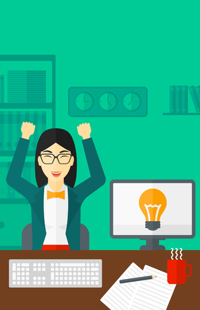 asian manager: An asian woman with raised hands sitting at the table on the background of office vector flat design illustration. Vertical layout.