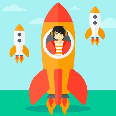 taking off: An asian man taking off in a rocket on the background of blue sky vector flat design illustration. Square layout.