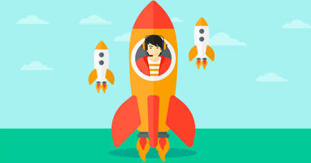 taking off: An asian man taking off in a rocket on the background of blue sky vector flat design illustration. Horizontal layout.