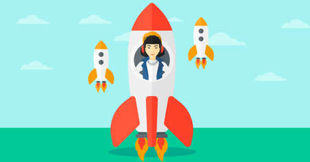 taking off: An asian woman taking off in a rocket on the background of blue sky vector flat design illustration. Horizontal layout.