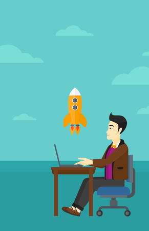 asian man laptop: An asian man sitting at the table in front of laptop and looking at a flying rocket on the background of blue sky vector flat design illustration. Vertical layout.