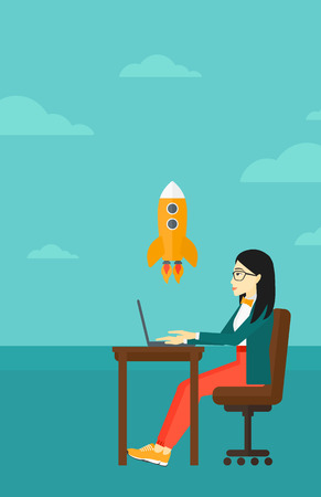 An asian woman sitting at the table in front of laptop and looking at a flying rocket on the background of blue sky vector flat design illustration. Vertical layout. 向量圖像