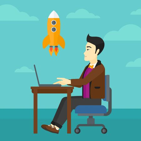 asian man laptop: An asian man sitting at the table in front of laptop and looking at a flying rocket on the background of blue sky vector flat design illustration. Square layout. Illustration