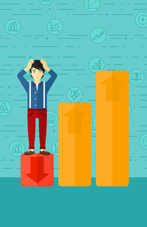 uprising: An asian man clutching his head and standing in bottom of uprising chart on a blue background with business icons vector flat design illustration. Vertical layout. Illustration