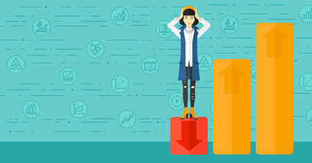 pessimistic: An asian woman clutching her head and standing in bottom of uprising chart on a blue background with business icons vector flat design illustration. Horizontal layout.