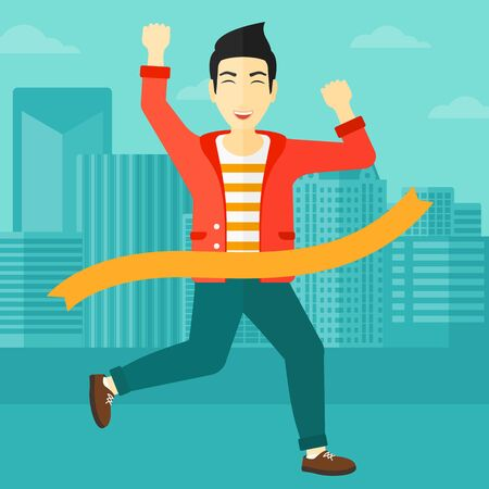 concurrence: An asian man running through finishing line on the background of modern city vector flat design illustration. Square layout.