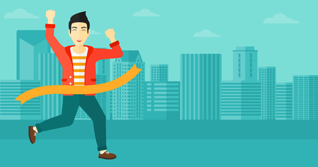 concurrence: An asian man  running through finishing line on the background of modern city vector flat design illustration. Horizontal layout.
