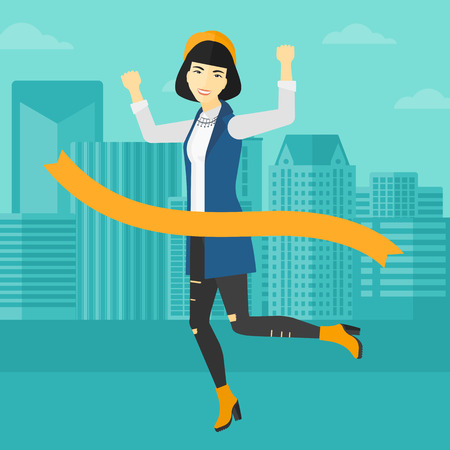 concurrence: An asian woman running through finishing line on the background of modern city vector flat design illustration. Square layout. Illustration