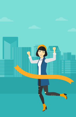 finishing line: An asian woman running through finishing line on the background of modern city vector flat design illustration. Vertical layout.
