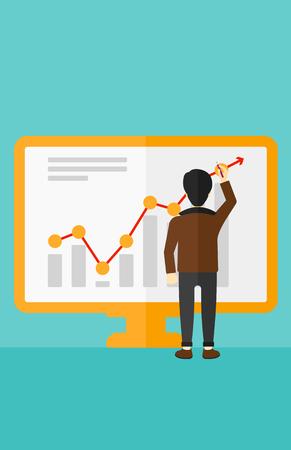 青色の背景ベクトル フラット デザイン イラストをボード上のインフォ グラフィックを介してレポートを提示するアジア系のビジネスマン。縦型レ