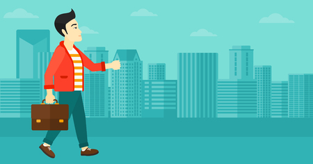 An asian man walking with a briefcase on the background of modern city vector flat design illustration. Horizontal layout.