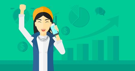 smart phone woman: An asian woman with raised hand talking on the phone on a green background with business charts vector flat design illustration. Horizontal layout.