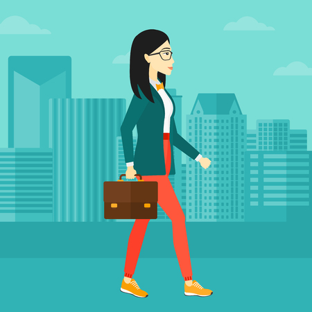 An asian woman walking with a briefcase on the background of modern city vector flat design illustration. Square layout.