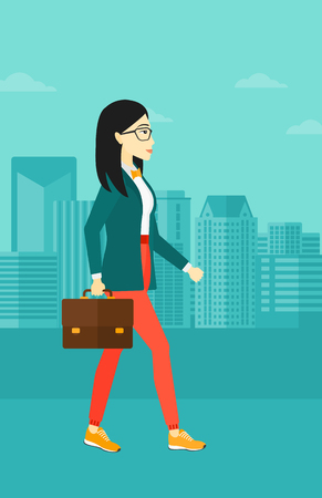 woman walk: An asian woman walking with a briefcase on the background of modern city vector flat design illustration. Vertical layout.
