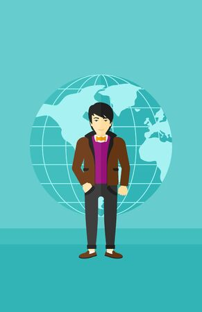 sphere standing: An asian successful businessman standing on a blue background with earth globe vector flat design illustration. Vertical layout.