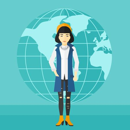 sphere standing: An asian successful business woman standing on a blue background with earth globe vector flat design illustration. Square layout. Illustration