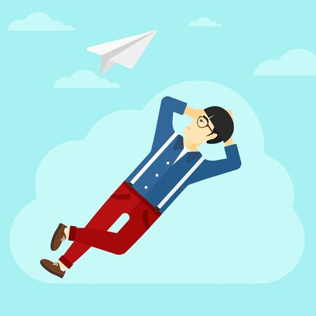 man looking at sky: An asian man lying on a cloud and looking at flying paper plane on the background of blue sky vector flat design illustration. Square layout. Illustration