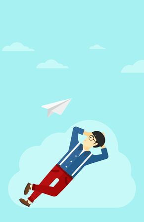 man looking at sky: An asian man lying on a cloud and looking at flying paper plane on the background of blue sky vector flat design illustration. Vertical layout.