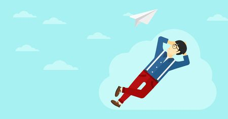An asian man lying on a cloud and looking at flying paper plane on the background of blue sky vector flat design illustration. Horizontal layout.