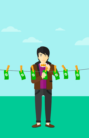 An asian businessman drying banknotes on clothesline on the background of blue sky vector flat design illustration. Vertical layout.