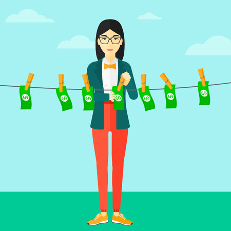 An asian business woman drying banknotes on clothesline on the background of blue sky vector flat design illustration. Square layout. Illustration