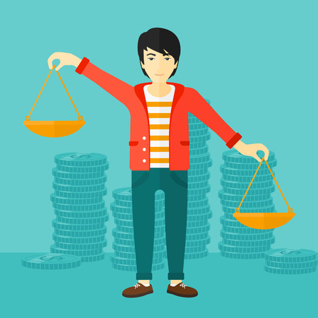 outweigh: An asian man holding scales in hands on a blue background with stacks of coins vector flat design illustration. Square layout. Illustration