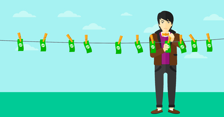 counterfeit: An asian businessman drying banknotes on clothesline on the background of blue sky vector flat design illustration. Horizontal layout.