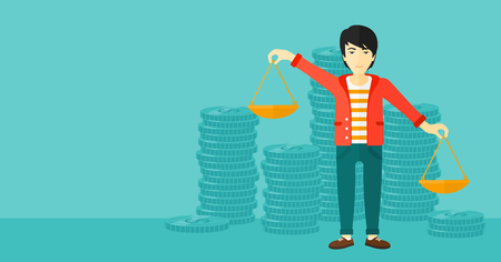 outweigh: An asian man holding scales in hands on a blue background with stacks of coins vector flat design illustration. Horizontal layout.