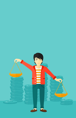 outweigh: An asian man holding scales in hands on a blue background with stacks of coins vector flat design illustration. Vertical layout.